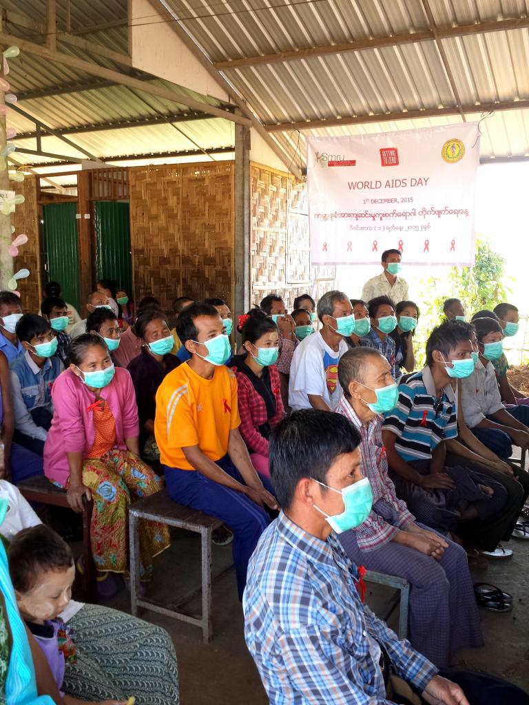 TB Patients gathering (with masks) in occasion of World`s AIDS day 2015