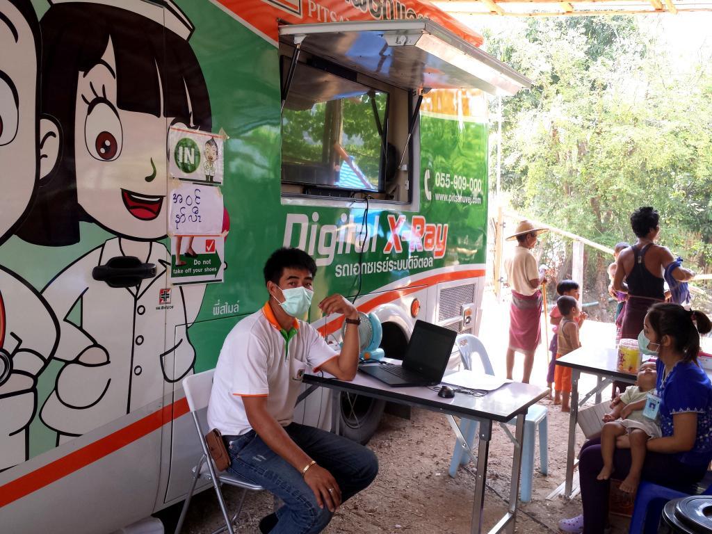 CXR  for TB screening with mobile CXR truck from Phitsanuvej hospital