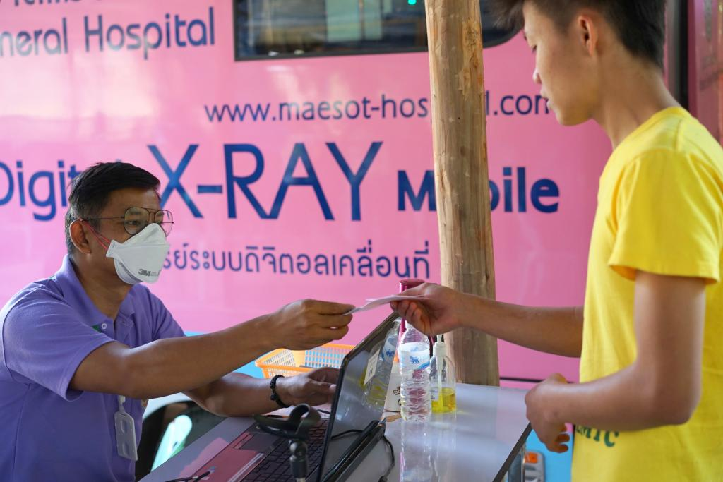 CXR  for TB screening with mobile CXR truck from Maesod Hospital